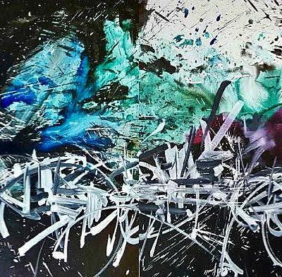 dyptique 70x200 encre de chine, encre de couleur et acrylique